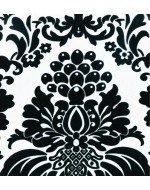 Black and White Flock Damask