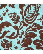 Blue and Brown Flock Damask