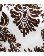 Brown and White Flock Damask