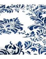 Navy and White Flock Damask